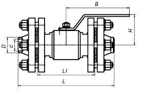 кран шаровый с плавающими фланцами ЯГТ 10-40ФП.А схема