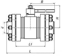 кран шаровый фланцевый цельносварной ЯГТ 50-100ФС.А схемы