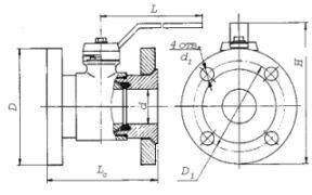 кран шаровый фланцевый ГШК схема