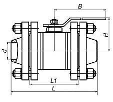 кран шаровый фланцевый цельносварной ЯГТ 50-100ФС.А схема
