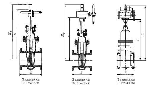 схема задвижки клиновые с выдвижным шпинделем фланцевые 30с41нж, 30с541нж, 30с941нж