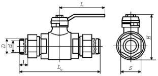 схема кран шаровый штуцерный с шаровым ниппелем под приварку