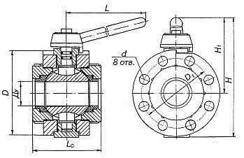 схема кран шаровый межфланцевый ГШК
